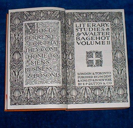 BAGEHOT, WALTER (1826-1877) - LITERARY STUDIES Volume II No. 521 of Everyman's Library