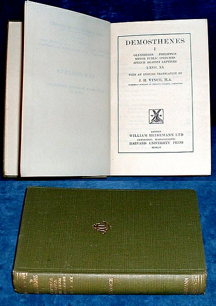 DEMOSTHENES I Olynthiacs etc Greek & English 1954