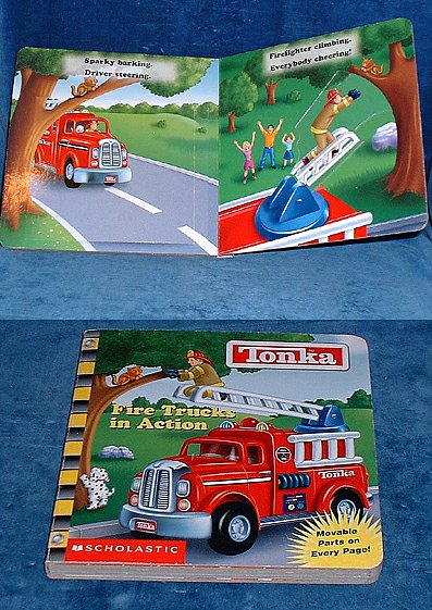 FIRE TRUCKS IN ACTION Tonka - Movable parts on Every Page!