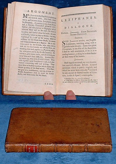 CAMPBELL,ARCHIBALD (1726-1780)] BUT NO AUTHOR GIVEN - LEXIPHANES, a Dialogue. Imitated from Lucian, and suited to the present Times. Being an Attempt to restore the English Tongue to its ancient Purity, and to correct, as well as expose, the affected Style .. of many late Writers, and particularly of Our English Lexiphanes, The Rambler [Samuel JOHNSON].